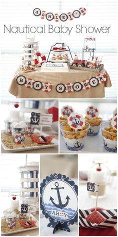 What a gorgeous nautical themed baby shower! See more party ideas at CatchMyParty.com.