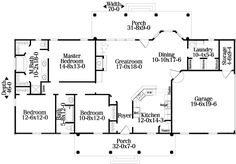 Country Style House Plan - 3 Beds 2 Baths 1670 Sq/Ft Plan #406-128 Floor Plan - Main Floor Plan - Houseplans.com