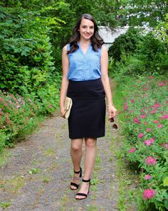 Gingham and a pencil skirt for summer office style
