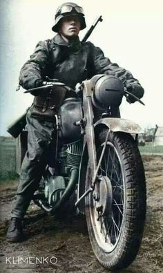 German courier - It& NOT a BMW, is it? Please leave me a comment if you kn. - World War II Germany - Ww2 Pictures, Ww2 Photos, History Photos, German Soldiers Ww2, German Army, Germany Ww2, Nagasaki, Panzer, War Machine