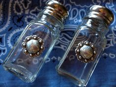 Western concho glass salt and pepper shaker with by RRRanch4, $16.95