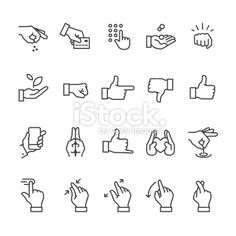 View Vector Art of Hand Gestures Related Linear Icons. Icon Design, Logo Design, Hands Icon, Line Art Vector, Doodle Icon, Sketch Notes, Icon Collection, Symbol Logo, Line Icon