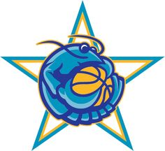 NBA All-Star Game Alternate Logo (2008) - A crawfish clutching a basketball on a white, yellow and teal star