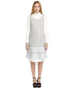 Black Fleece for Brooks Brothers - DOUBLE LAYER RUFFLED HEM DRESS Grey-White #brooksbrothers #madeinNYC #madeinUSA