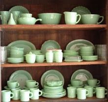 Fire King and other Jadite...love the color and presentation. Nothing prettier than beautiful, vintage plates.