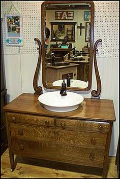 Antique American Oak Dresser with Mirror, Sink and Faucet for Bathroom Vanity -  DD1726. $1,995.00, via Etsy.