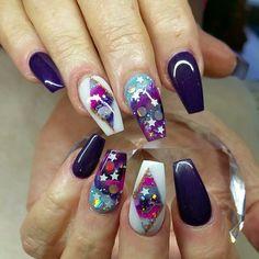 Galaxy nails or gel Black And Purple Nails, Galaxy Nails, Nail Ideas, Acrylic Nails, Manicure, Instagram Posts, Fun, Nail Bar, Nails