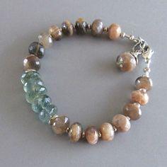 Moss Aquamarine Sunstone Gemstone Sterling Silver Bead Bracelet
