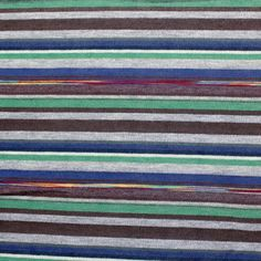 Andy Stripe Cotton Jersey Blend Knit Fabric - Super soft cotton jersey knit stripes in a color palette of rainbow, green, brown, blue, and heather gray.  Fabric is very soft, light weight, and has a nice stretch.  Stripes repeat is 3