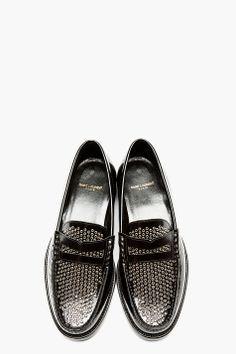 SAINT LAURENT Black Leather Eyelet Embellished Loafers
