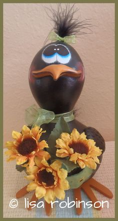 MERIFEATHER crow handpainted bottle gourd spring by primchick