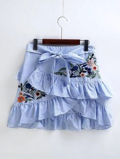 6f861f0ea01996 US $20.89 |Blue Striped Skirt For Women Summer 2017 Brand Ruffles Short  Pleate Skirt Girl Embroidery Floral Lolita Mini Skirt With Belt -in Skirts  from ...
