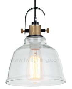 Ineslam glass retro pendant light, retro vintage bell design with brass parts MD8021-CL