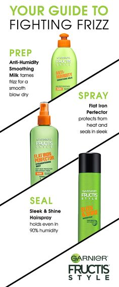 Fight frizz once and for all! Here are some simple tips and tricks to keep your hair looking flawless 24/7. Step 1. Prep and add moisture. Anti-Humidity Smoothing Milk tames frizz for a smooth blow dry. Step 2. Protect your hair from the heat of your flat or curling iron with Flat Iron Perfector. Step 3: Seal your look with a hairspray that keeps hold even in humidity.