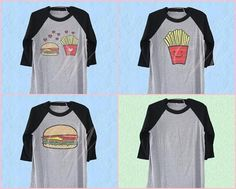 French fries tshirt hamburger food shirt printed baseball tshirt /raglan shirt/ size S M L XL pl Grey Shirt, T Shirt, Cute Graphic Tees, Raglan Shirts, French Fries, Printed Shirts, Hamburger, Trending Outfits, Baseball
