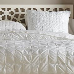 Square-Tuck Duvet Cover + Shams #WestElm- would love this with some brightly colored pillows