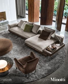 Living area - monumentality of the room but with deeply comfortable and inviting furniture, also the drapery is sleek and modern MINOTTI
