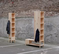 Sebastian Erazo Fischer designed a solution for all the gear you shed at the front door when you come home. These mixed-use, freestanding units were created as a place for you to sit, take your shoes off, and have a place to store them. Besides your shoes, it's made to hold your coats and everything else you need when you're leaving the house.