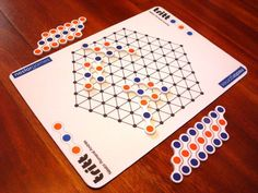 TRITT is a two-player abstract board game, designed by Néstor Romeral Andrés in 2009. TRITT uses an hexagonal board with 91 connected dots and a special piece called Tritton, consisting in 3 aligned dots coloured blue-orange-blue (bob) or orange-blue-orange (obo). The goal of TRITT is to place three dots of your colour in a row without making three dots of the opponent's colour in a row at the same time. On their turn, the players must enter one of his Tritt...