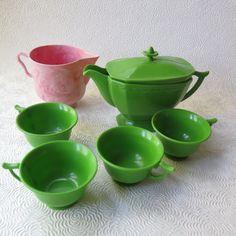 Children's Tea Seat 1960s Green Teapot Teacups by stonebridgeworks