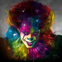 Pennywise clown painting by Patrice Murciano Clown Horror, Creepy Clown, Arte Horror, Horror Art, Horror Monsters, Clown Pennywise, Pennywise The Dancing Clown, Saint Yves, Horror Show