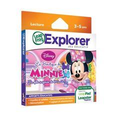Un jeu pour la console Leapster Explorer pour que vos enfants apprennent tout en s'amusant avec Minnie et sa boutique.