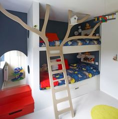 Cool bunk beds will bring joy, originality and uniqueness to your kids' room. First, bunk beds solve the problem with a lack of space if two kids have to Bunk Bed With Desk, Bunk Beds With Stairs, Kids Bunk Beds, Bed Stairs, Double Deck Bed, Double Loft Beds, Cool Loft Beds, Modern Bunk Beds, Modern Loft