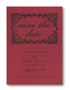 Floral Frame Save the Date Card on Red