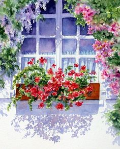 How inviting with this pastel watercolor painting opening up a window a breath of fresh air to spring time with flowers, Ann Mortimer Watercolor Landscape, Watercolour Painting, Watercolor Flowers, Painting & Drawing, Watercolors, Art Floral, Pinterest Arte, Art Aquarelle, Mail Art