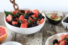 Watermelon Grapefruit & Blackberry Salad with Honey Mint Drizzle // nutritionstripped.com