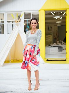 @sydnesummer rocking our Millan Skirt in Poppy Print! Mix and Match at its finest! http://bit.ly/1y9zvMD