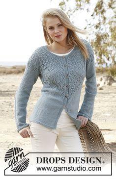 "Penny - Strikket DROPS jakke i ""BabyAlpaca Silk"" med hulmønster og rundt bærestykke. Str S - XXXL. - Free pattern by DROPS Design"