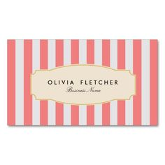 Chic Pink Stripes Business Cards   French Bakery or Boutique