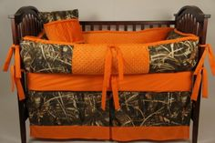 Mossy Oak Baby Bedding | Custom Made Baby Crib Bedding mossy oak break up orange minky