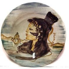 SALVATORE FIUME (1915-1997) PROFILO DI SOMALA DIPINTO SU PIATTO IN CERAMICA 52cm ☲☲☲☲☲☲☲☲☲☲☲☲☲☲☲☲☲☲☲☲ PROFILE OF A WOMAN ON CERAMIC PLATE