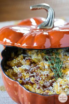 Pumpkin Mac and Cheese with Bacon from /inspiredbycharm/
