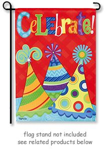 """Let's Celebrate Garden Flag by artist Sharla Fults for EVERGREEN'S SUEDE REFLECTION collection. Garden size mini flag is 12.5"""" W. x 18"""" H."""