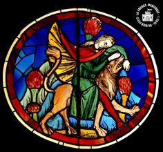 Musée National du Moyen Age : Vitraux de la Sainte-Chapelle . Samson déchire la gueule du lion (1243-1246)