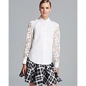 DKNY Lace Inset Button Front Shirt