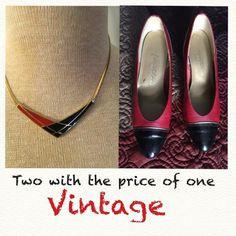 """This set and one more shoes ,lesser price for 8.00 Matching black and red necklace and shoes with gold tone piping .Necklace is NWOT by: Avon on the 80's .Red Shoes leather upper man made ,by:Magdesians' USA.Very comfy, size 7M and 2"""" heels. Shoes Heels"""