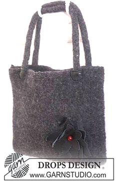 "Felted DROPS bag in ""Alaska"" with flower ~ DROPS Design"