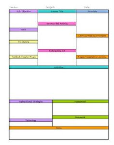 This Is A Editable Lesson Plan Template For An Individual Subject Or Area School Pinterest