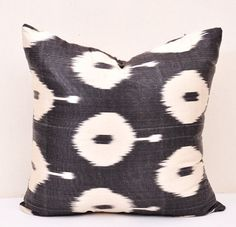 Black and white decorative ikat pillow cover door EasternHomeDecor