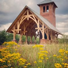 A mile and a half of creek and woodland separates this chapel from the rest of the world. There is no power or running water here. Backyard Pavilion, Outdoor Pavilion, Gazebo Pergola, Timber Frame Homes, Barn Wedding Venue, Rest Of The World, Outdoor Rooms, Beautiful Homes, House Styles
