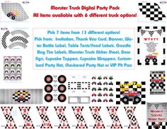 Monster Truck Birthday Party Pack  You Choose 7 by pdotprintables, $36.00
