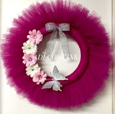 Hey, I found this really awesome Etsy listing at https://www.etsy.com/listing/218697275/fuchsia-tulle-wreath-tutu-wreath-tulle