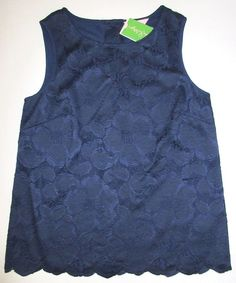 LILLY PULITZER Small IONA True Navy Blue Hibiscus Lace Shell Top $168 NWT Sm S #LillyPulitzer #KnitTop #Casual