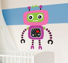 This friendly robot is perfect for decorating areas for children. Decorate your children's bedroom and make their room more fun with this colourful decal that kids will love.  This pink robot decal is available in various sizes. It is also super easy to apply and does not leave any residue on surface upon removal. #Robot #WallSticker #Decoration