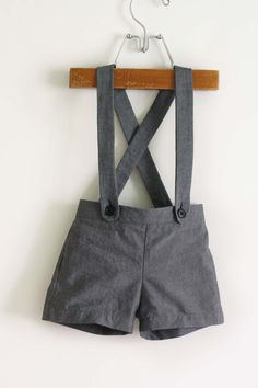 Spruce Suspender Shorts PDF sewing pattern for baby boy sizes 0-3 months to 18-24 months by ZuzzyPatterns, $6.00