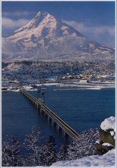 Hood River, Oregon.  Photo taken from Washington state by ?.